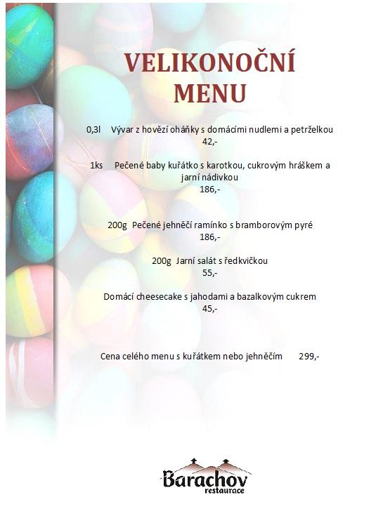 menu velikonoce 2018